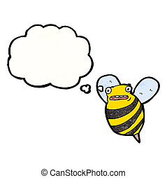caricatura, grasa, abeja
