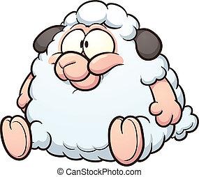 caricatura, grasa, sheep