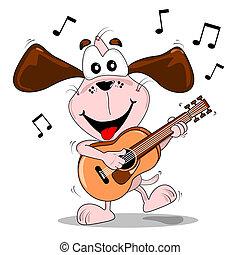 caricatura, guitarra, cão, tocando