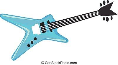caricatura, guitarra, elétrico