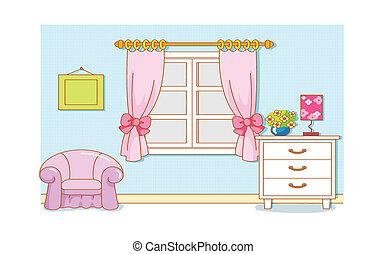 caricatura, habitación