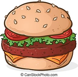 caricatura, hamburguesa, grande, jugoso