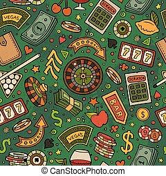 caricatura, hand-drawn, cassino, jogos, seamless, padrão
