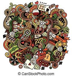 caricatura, hand-drawn, doodles, cassino, jogo, ilustração