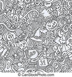 caricatura, hand-drawn, doodles, en, el, tema, de, halloween