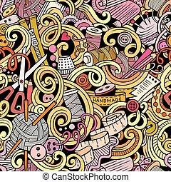 caricatura, hechaa mano, y, costura, doodles, seamless,...