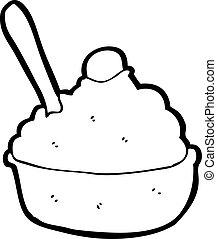 caricatura, helado, tazón
