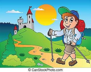 caricatura, hiker, menino, perto, castelo