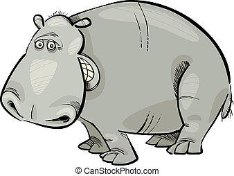 caricatura, hipopótamo
