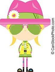 caricatura, hippie, niña, en, sombras, y, sombrero