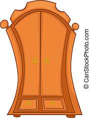caricatura, hogar, muebles, guardarropa