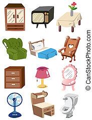 caricatura, hogar, muebles, icono
