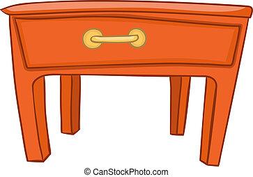 caricatura, hogar, muebles, tabla