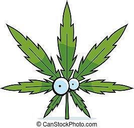 caricatura, hoja de la marijuana