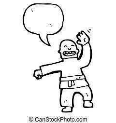 caricatura, hombre, amaestrado, un, tajada del karate
