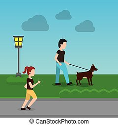 caricatura, hombre caminar, con, su, perro, en el parque, y, mujer que corre