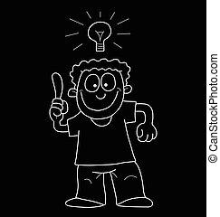 caricatura, hombre, con, idea