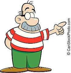 caricatura, hombre, con, un, grande, bigote, pointing.