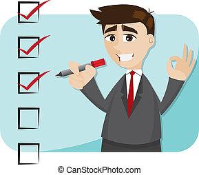 caricatura, hombre de negocios, con, lista de verificación