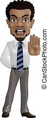 caricatura, hombre de negocios, gesto, actuación, parada
