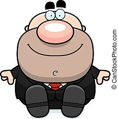caricatura, hombre de negocios, sentado