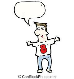caricatura, hombre, en, camisa, número 8