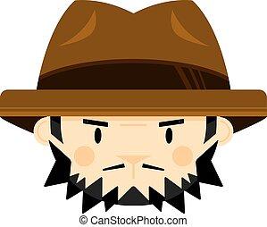 caricatura, hombre, en, fedora, estilo, sombrero