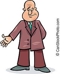 caricatura, hombre, en, traje