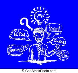 caricatura, hombre, idea, empresa / negocio, pensar