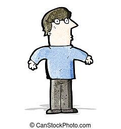 caricatura, hombre shrugging, hombros