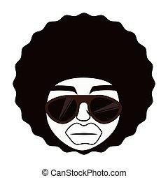 caricatura, homem, afro, óculos
