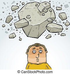 caricatura, homem, em, avalanche