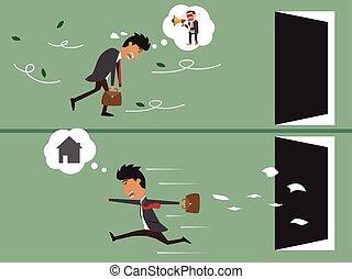 caricatura, homem negócio, muito, cansadas, ir, trabalhar, e, caricatura, negócio, feliz, ir, para, lar, após, work., vetorial, illustration.
