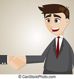 caricatura, homem negócios, abanar, mão, com, outro, homem