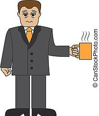 caricatura, homem negócios, com, um, copo