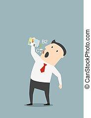 caricatura, homem negócios, fazendo exame vitaminas, pílulas