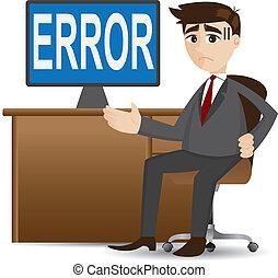 caricatura, homem negócios, mostrando, erro, computador