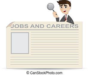 caricatura, homem negócios, procurar, para, trabalhos, e,...