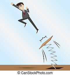caricatura, homem negócios, pular, ligado, trampolim
