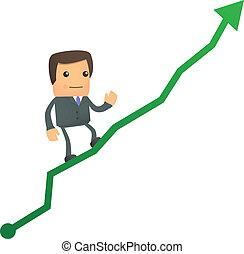 caricatura, homem negócios, subindo, em, a, diagrama