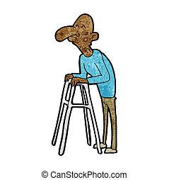 caricatura, homem velho, com, andando armação