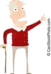 caricatura, homem velho, com, bengala