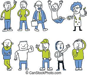 caricatura, homens, jogo