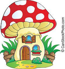 caricatura, hongo, casa
