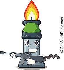caricatura, hornilla de bunsen, aislado, ejército