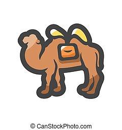 caricatura, icono, animal del desierto, illustration., vector, camello
