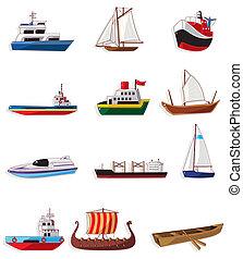 caricatura, icono, barco