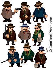 caricatura, icono, mafia