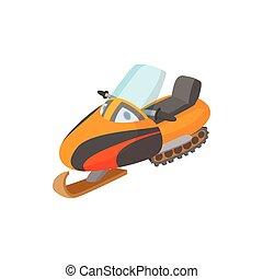 caricatura, icono, motonieve, estilo