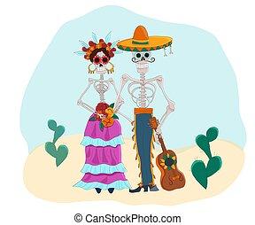 caricatura, illustration., vector, mexicano, senorita., caracteres, día, muerto, senor